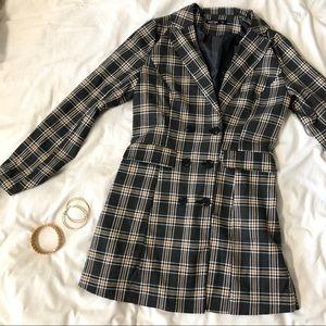 Nasty Gal Blazer Plaid Mini Suit Dress